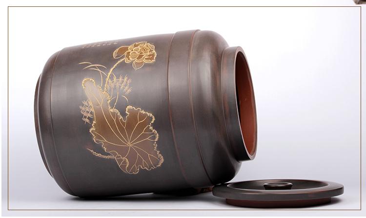 荷花坭兴陶茶叶罐水罐LZS-FG-1