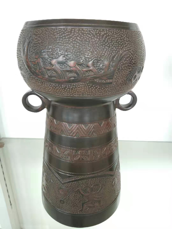 广西坭兴陶摆件高鼓花樽